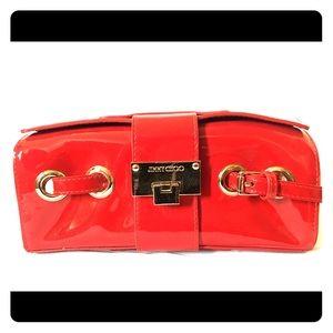 Jimmy Choo red patent leather clutch purse handbag